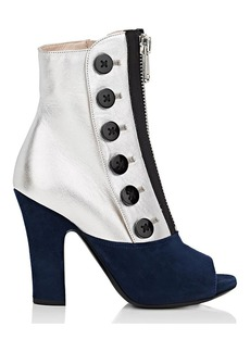 Miu Miu Women's Leather & Suede Peep-Toe Booties