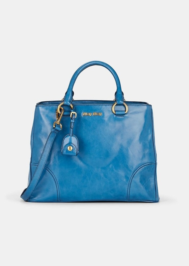 Miu Miu Women's Leather Shoulder Tote Bag - Oceano/ ocean