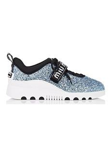 Miu Miu Women's Logo-Strap Glitter Platform Sneakers