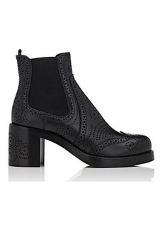Miu Miu Women's Perforated Leather Wingtip Chelsea Boots