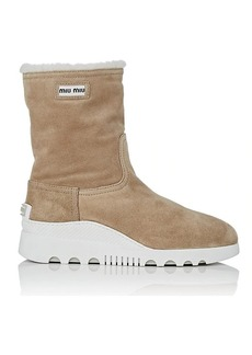 Miu Miu Women's Shearling-Lined Suede Ankle Boots