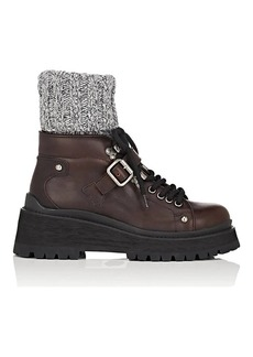 Miu Miu Women's Sock-Inset Leather Ankle Boots