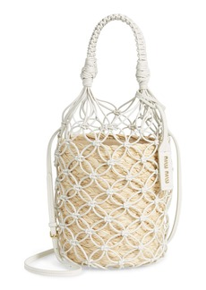 Miu Miu Woven Leather & Raffia Bucket Bag