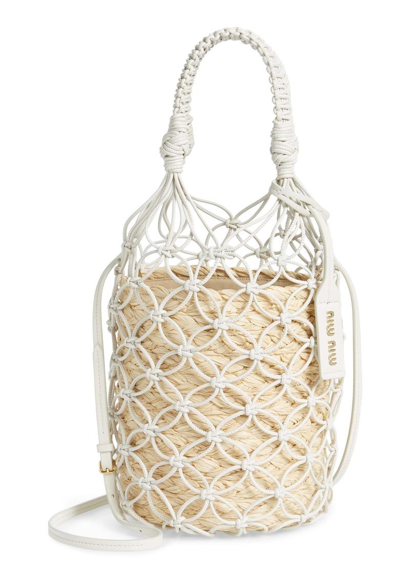 Miu Miu Woven Leather & Raffia Bucket Bag