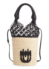 Miu Miu Woven Leather & Straw Bucket Bag