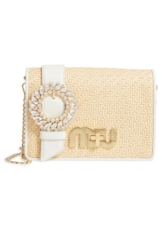 Miu Miu Woven Raffia & Leather Shoulder Bag