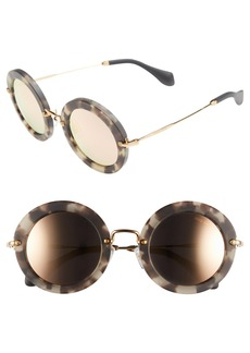 Miu Miu'Noir' 49mm Round Sunglasses