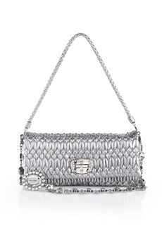Miu Miu Nappa Crystal Embellished Metallic Leather Shoulder Bag