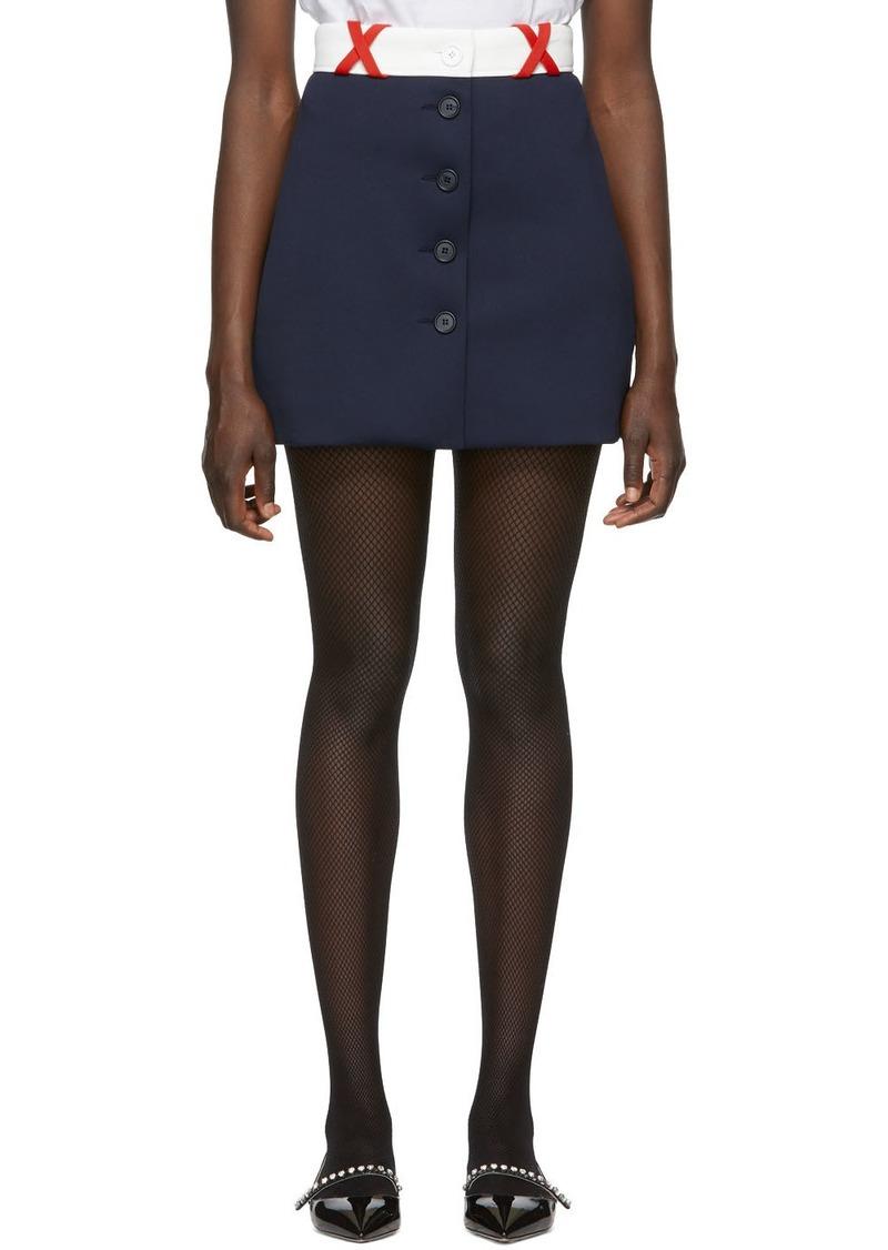Miu Miu Navy Techno Jersey Miniskirt