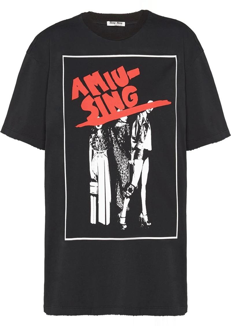 Miu Miu Noir print oversized T-shirt