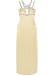 Miu Miu Open-back Embellished Satin Gown