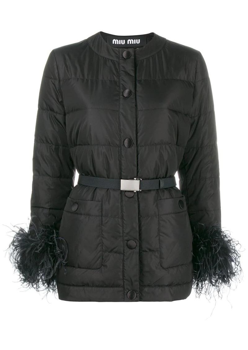 Miu Miu ostrich feather trimmed puffer jacket
