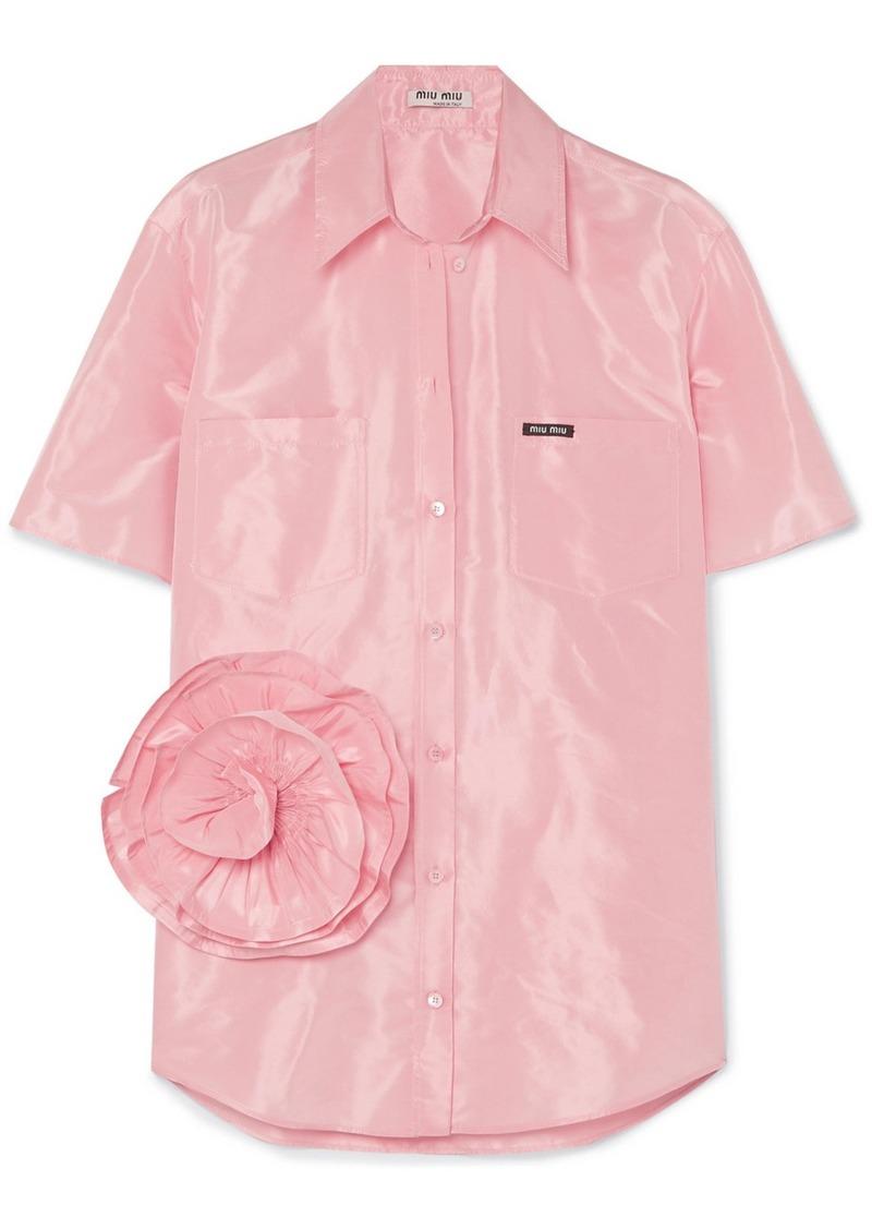 Miu Miu Oversized Appliquéd Silk-taffeta Shirt