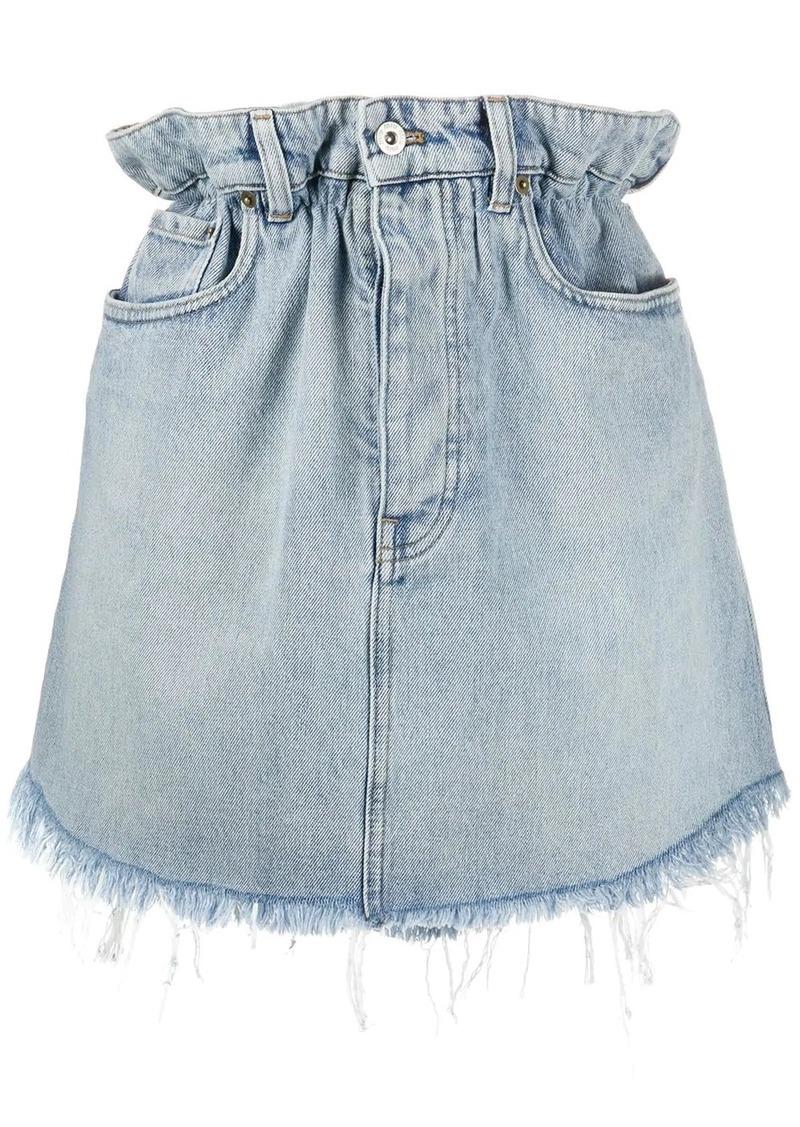 Miu Miu paper-bag waist denim skirt