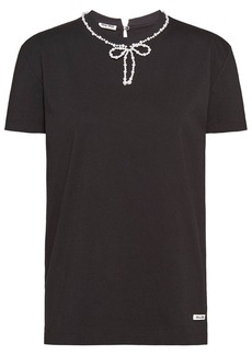 Miu Miu pearl-embellished bow T-shirt