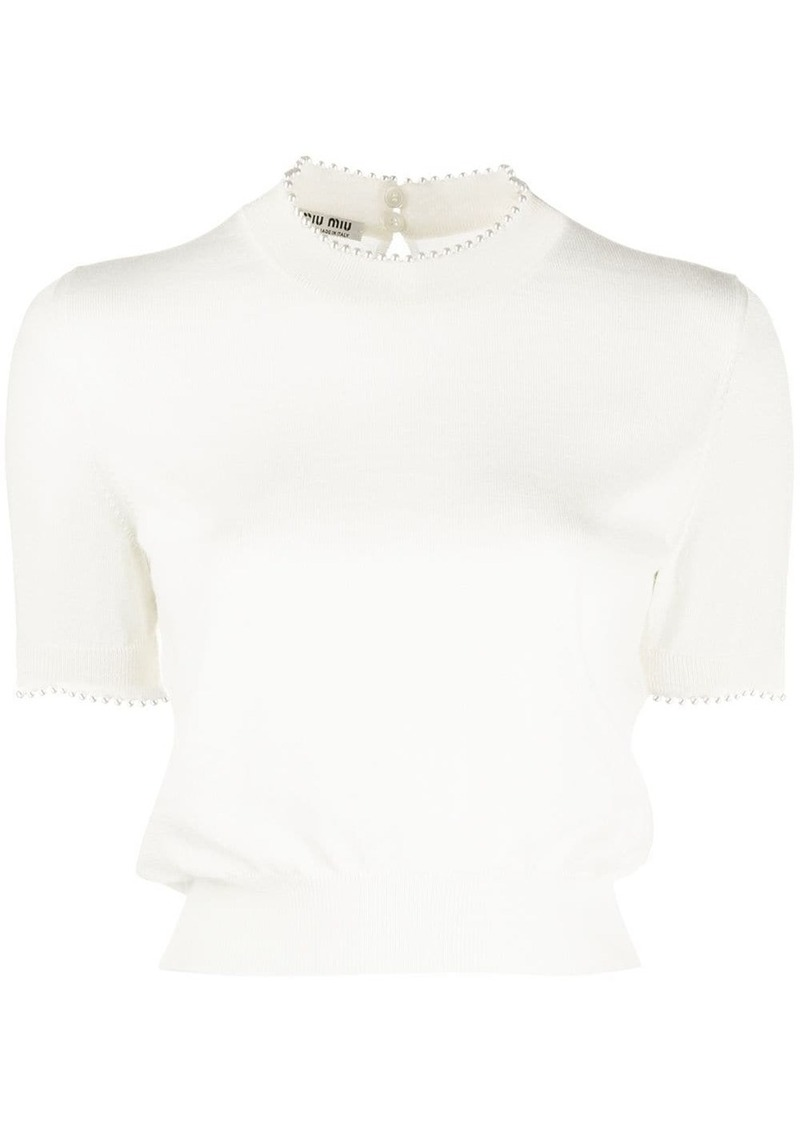 Miu Miu pearl trimming knitted top