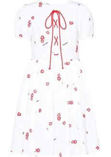 Miu Miu poplin floral embroidered dress