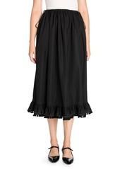 Miu Miu Poplin Pom-Pom Midi Skirt