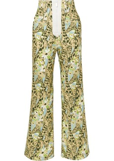 Miu Miu Printed High-rise Wide-leg Jeans