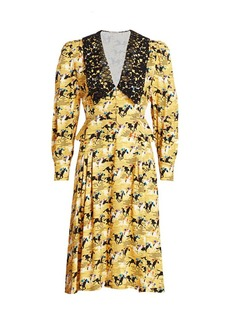 Miu Miu Printed Horses Collared Dress