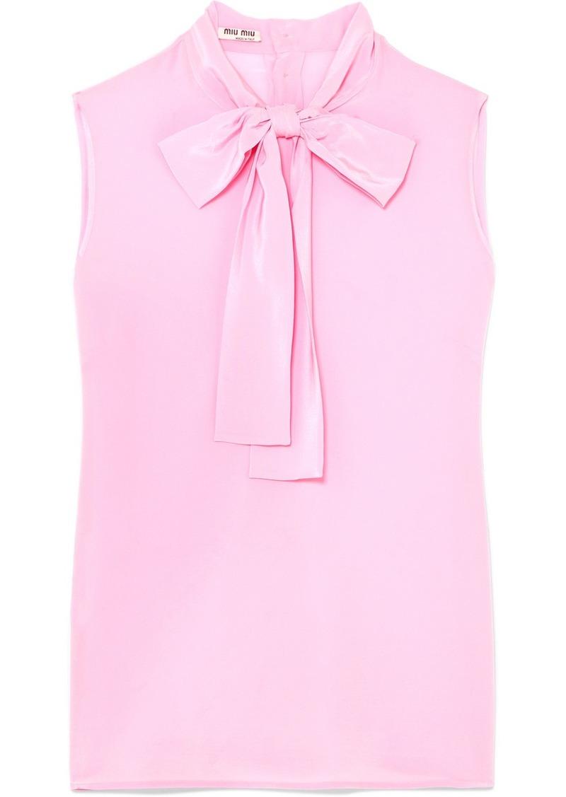 4abfdd5c7e4e69 Miu Miu Pussy-bow Silk Crepe De Chine Top | Casual Shirts