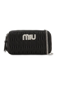 Miu Miu Quilted Leather Double Zip Bag W/ Logo