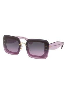 Miu Miu Rectangle Glitter-Illusion Frame Chunky-Arm Sunglasses