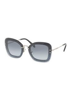 Miu Miu Rectangle Glitter-Illusion Frame Sunglasses