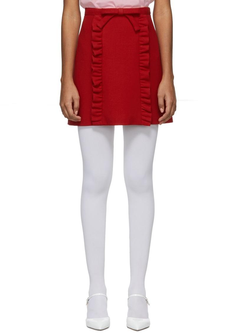 Miu Miu Red Bow & Ruffles Miniskirt