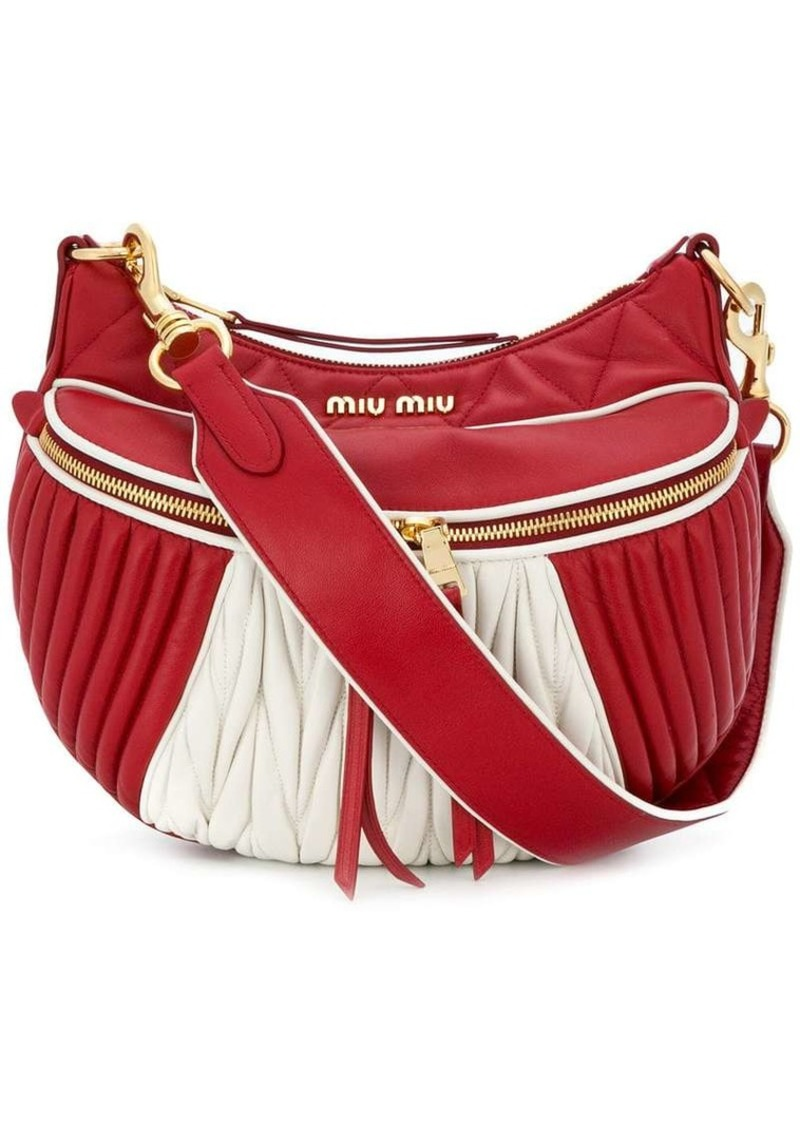Miu Miu Red White Quilted leather shoulder bag