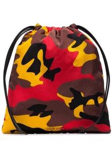 Miu Miu red, yellow and brown camo print drawstring bag