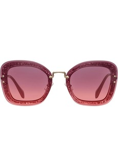 Miu Miu Reveal oversized glitter frame sunglasses