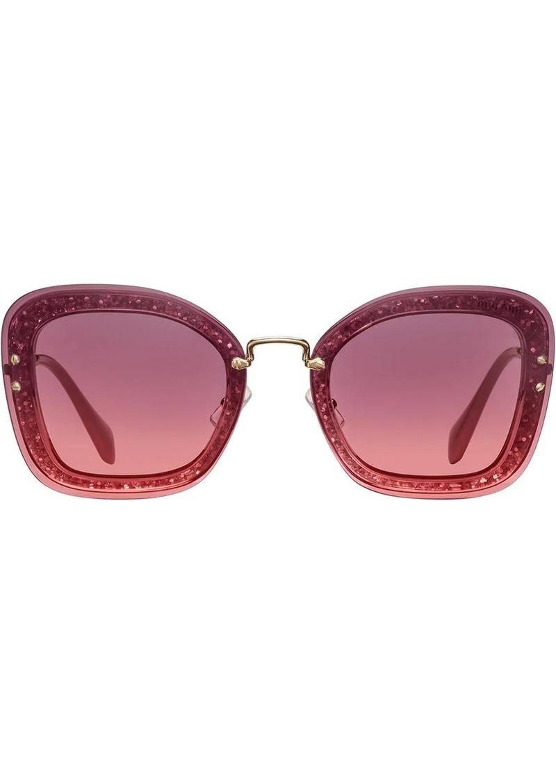 Miu Miu Reveal oversized glitter frame sunglasses