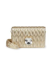 Miu Miu Rhinestone-Embellished Matelassé Shoulder Bag