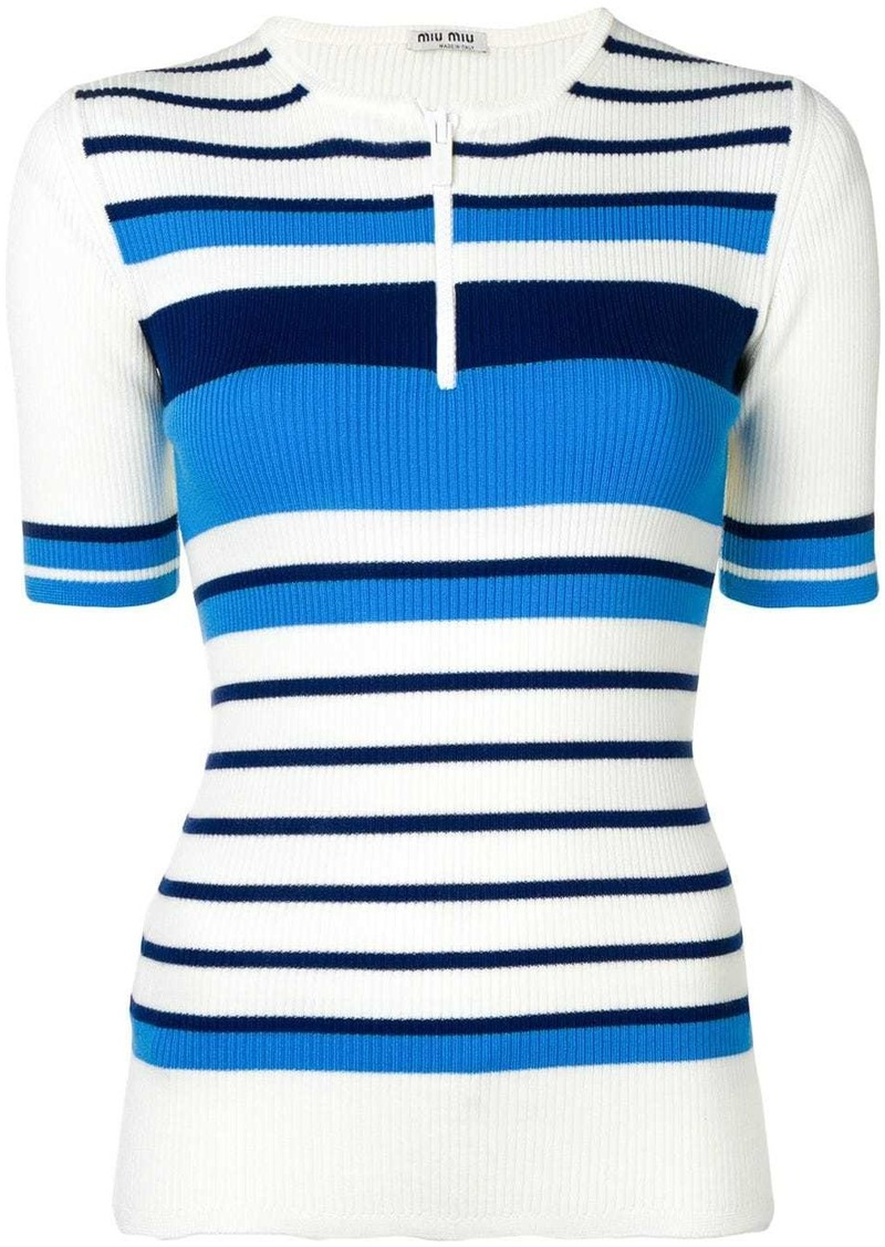 Miu Miu ribbed zipped polo top