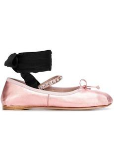 Miu Miu ribbon crystal embellished ballerina flats
