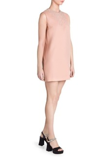 Miu Miu Ricamo Jeweled Shift Dress