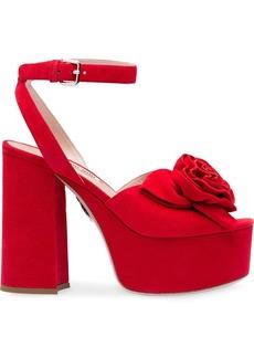 Miu Miu rose appliqué platform sandals