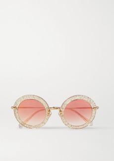 Miu Miu Round-frame Gold-tone And Glittered Acetate Sunglasses