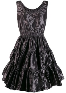 Miu Miu ruched silk flared dress