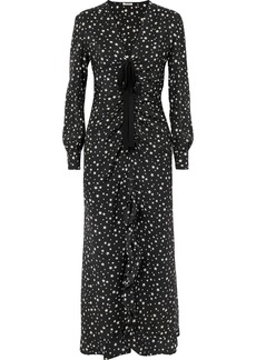 Miu Miu Ruffled Gathered Printed Silk Midi Dress