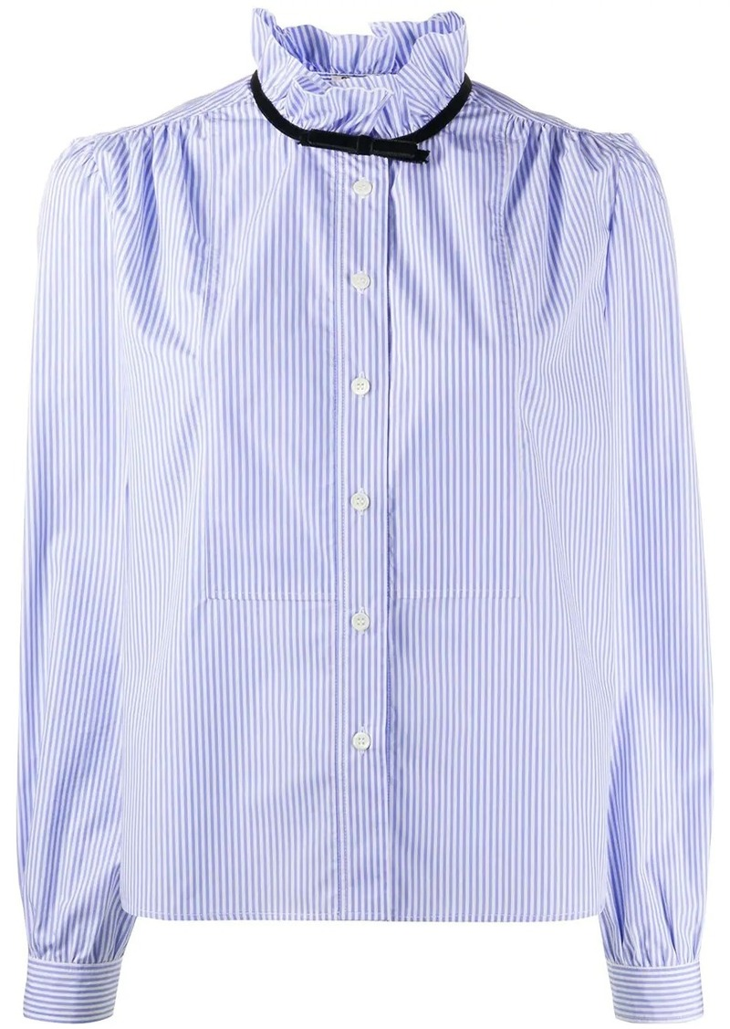 Miu Miu ruffled neck striped shirt