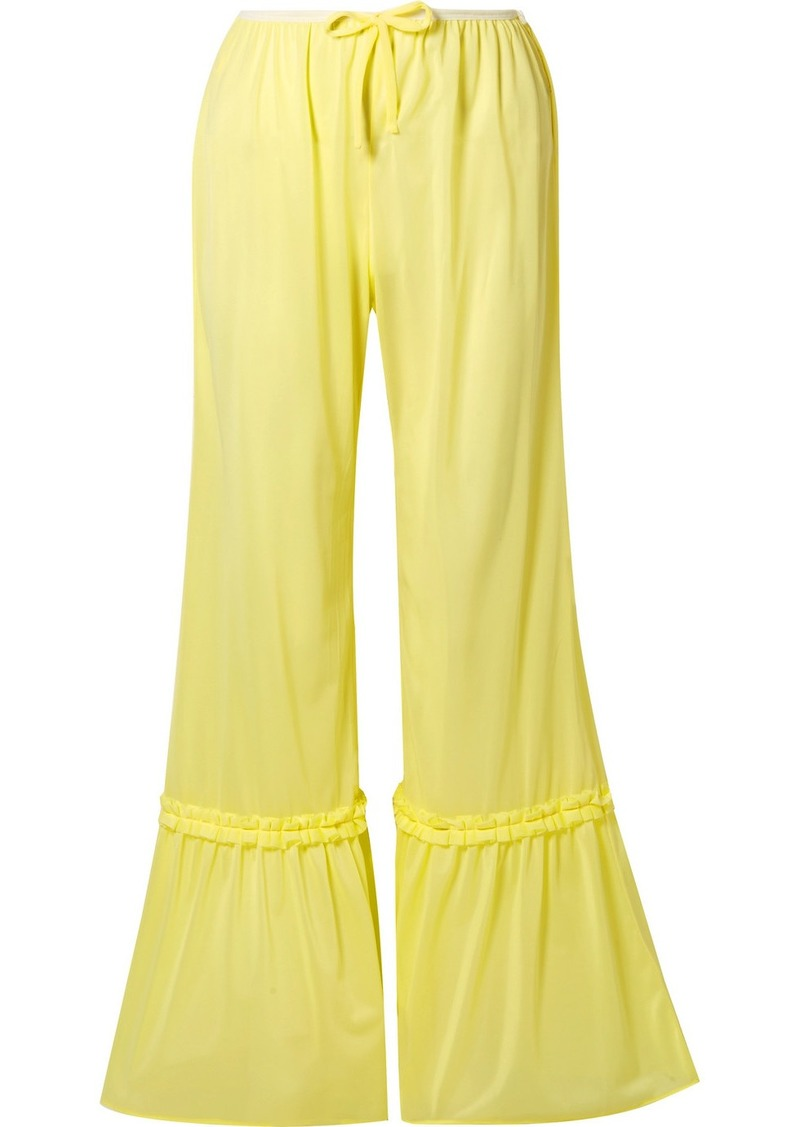 Miu Miu Ruffled Satin-jersey Flared Pants