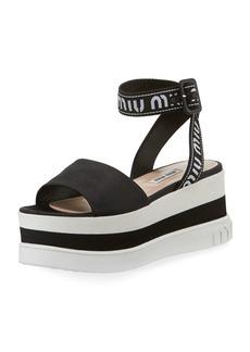 Miu Miu Satin Platform Chunky-Wedge Sandal