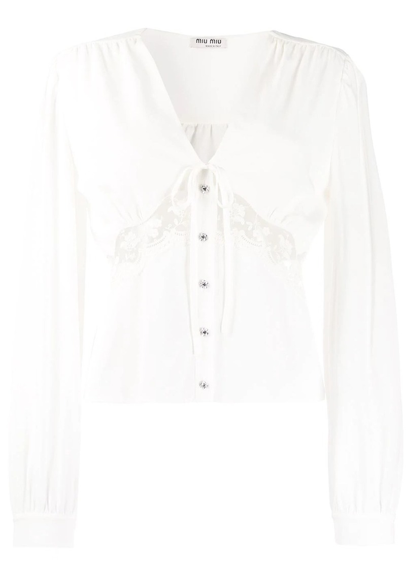 Miu Miu satin smocked cup blouse