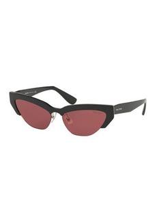 Miu Miu Semi-Rimless Cat-Eye Sunglasses