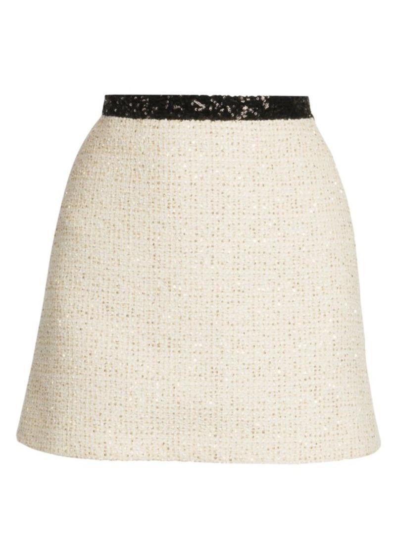 Miu Miu Sequin Tweed A-Line Mini Skirt