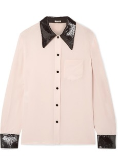 Miu Miu Sequined Silk Crepe De Chine Shirt