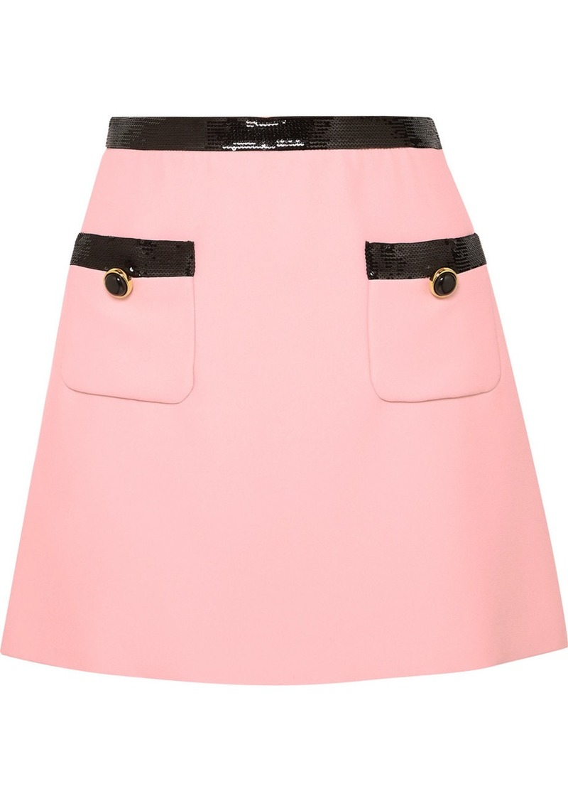 Miu Miu Sequined Velvet-trimmed Cady Mini Skirt