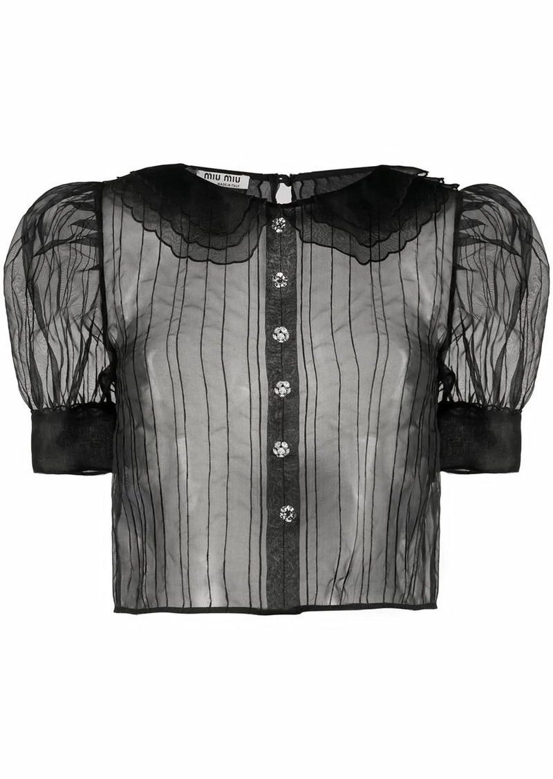 Miu Miu sheer striped blouse